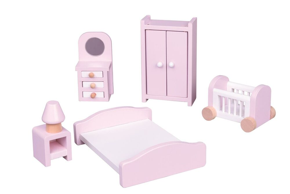 Lelin Wooden Pink Bedroom Playset Childrens Pretend Doll House Furniture Ebay
