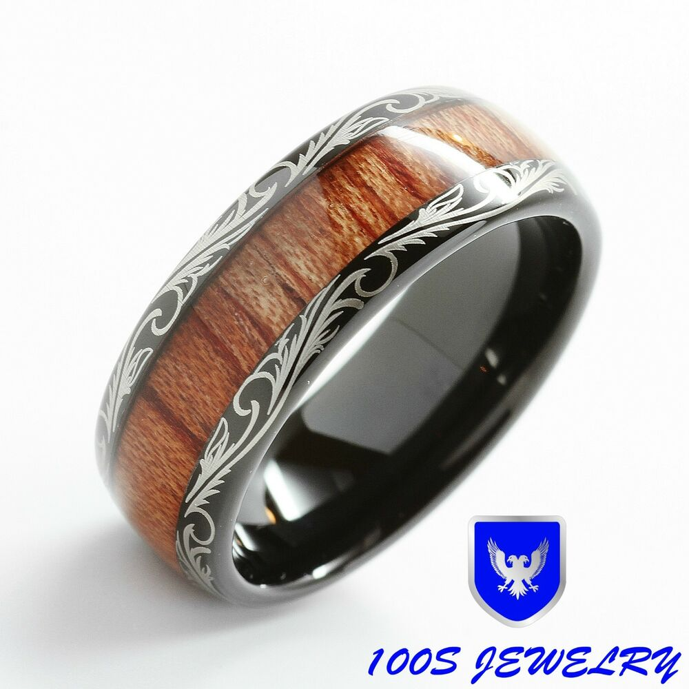 Mens Women Wedding Band Black Tungsten Ring Koa Wood Inlay