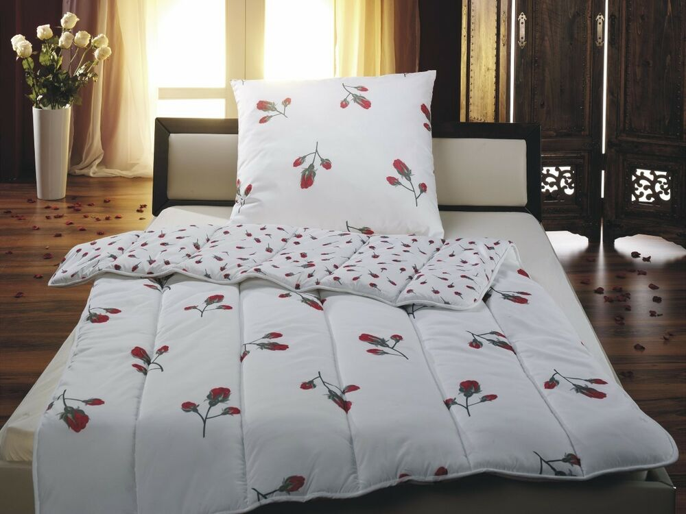 2tlg microfaser bettenset romantic rose bettdecke 135x200 kissen 80x80 cm ebay. Black Bedroom Furniture Sets. Home Design Ideas