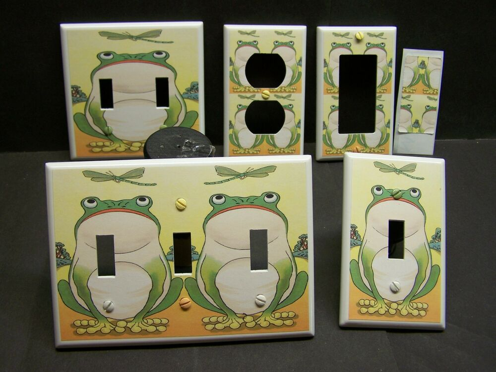 Frog and dragonfly home decor light switch cover plate or for Home decor outlet