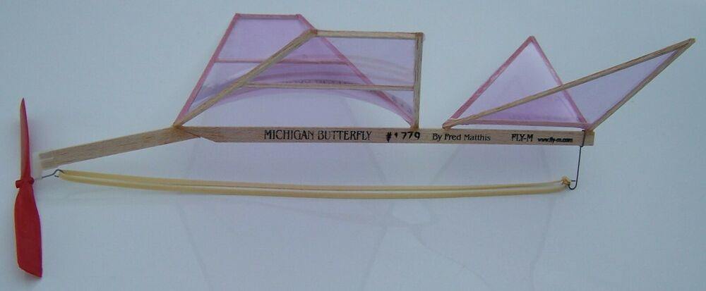 Michigan Butterfly Flying Balsa Model Airplane Kit Rubber Powered
