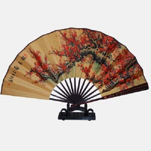 Plum blossoms decorative bamboo wall hand fan chinese oriental gifts ma ebay - Wall fans decorative ...