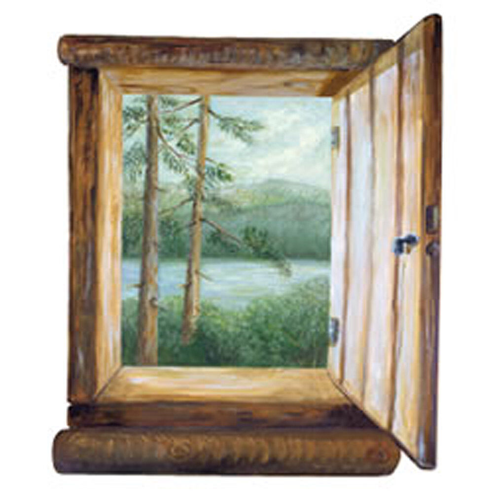 Scenic log cabin window mural view nature trees ponds for Log cabin window