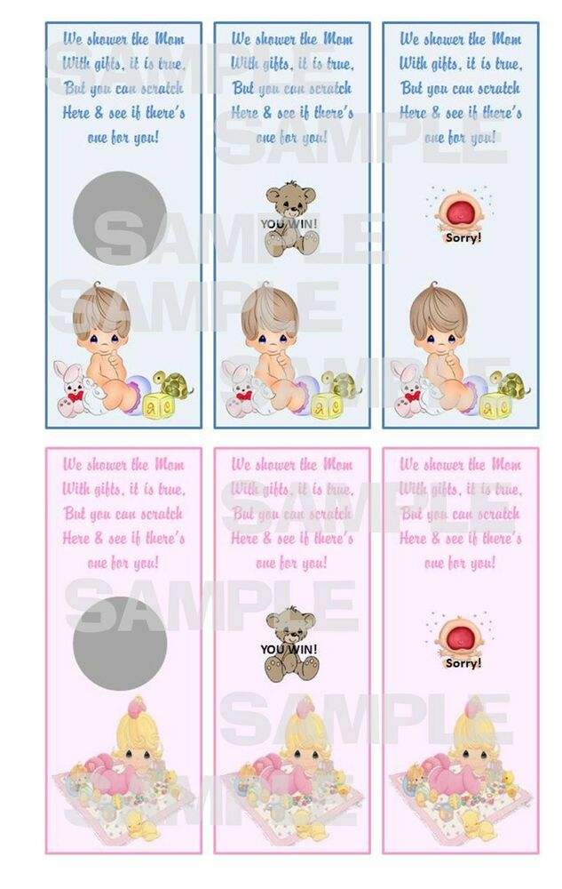 precious moments boy girl baby shower party game scratch off tickets