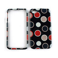 Red Gray Polka Dots On Black Hard Cover For Apple iPhone 4 4S Phone Case Snap-On