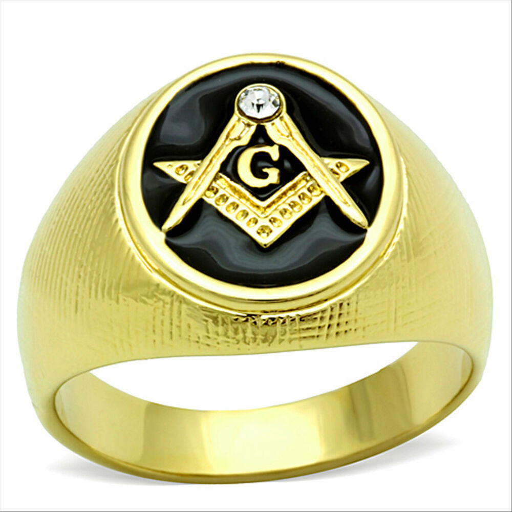 masonic oval black 18kt gold plated stainless steel