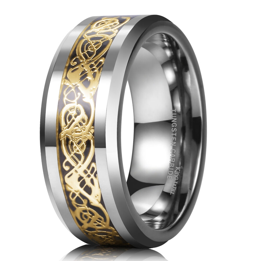 8mm tungsten carbide celtic dragon gold inlay flat comfort for Tungsten celtic wedding ring