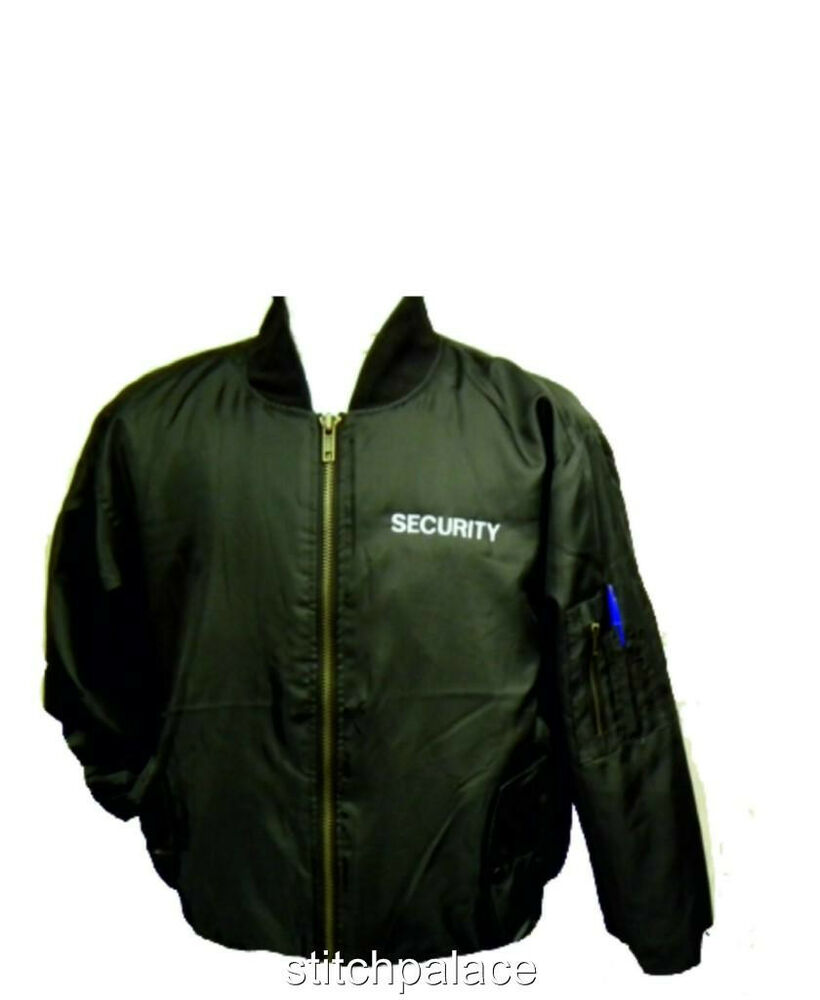 Bomber Jacket S4XL Embroidered SECURITY Back Amp Front  EBay