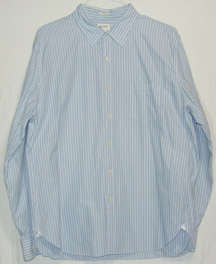 J crew mens blue striped 100 cotton long sleeve button for Mens 100 cotton long sleeve t shirts