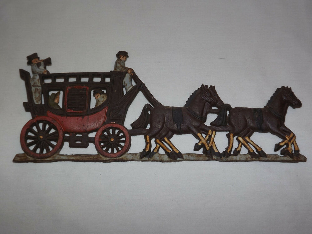 Vintage horse carriage hand painted iron metal wall for Plaque metal deco pour mur