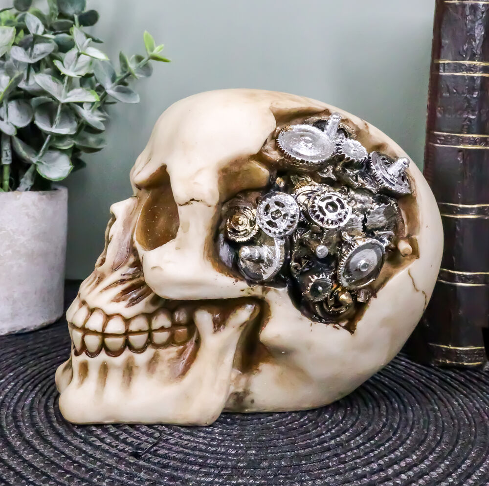 Steampunk protruding gearwork cyborg robotic human skull for Robotic halloween decorations