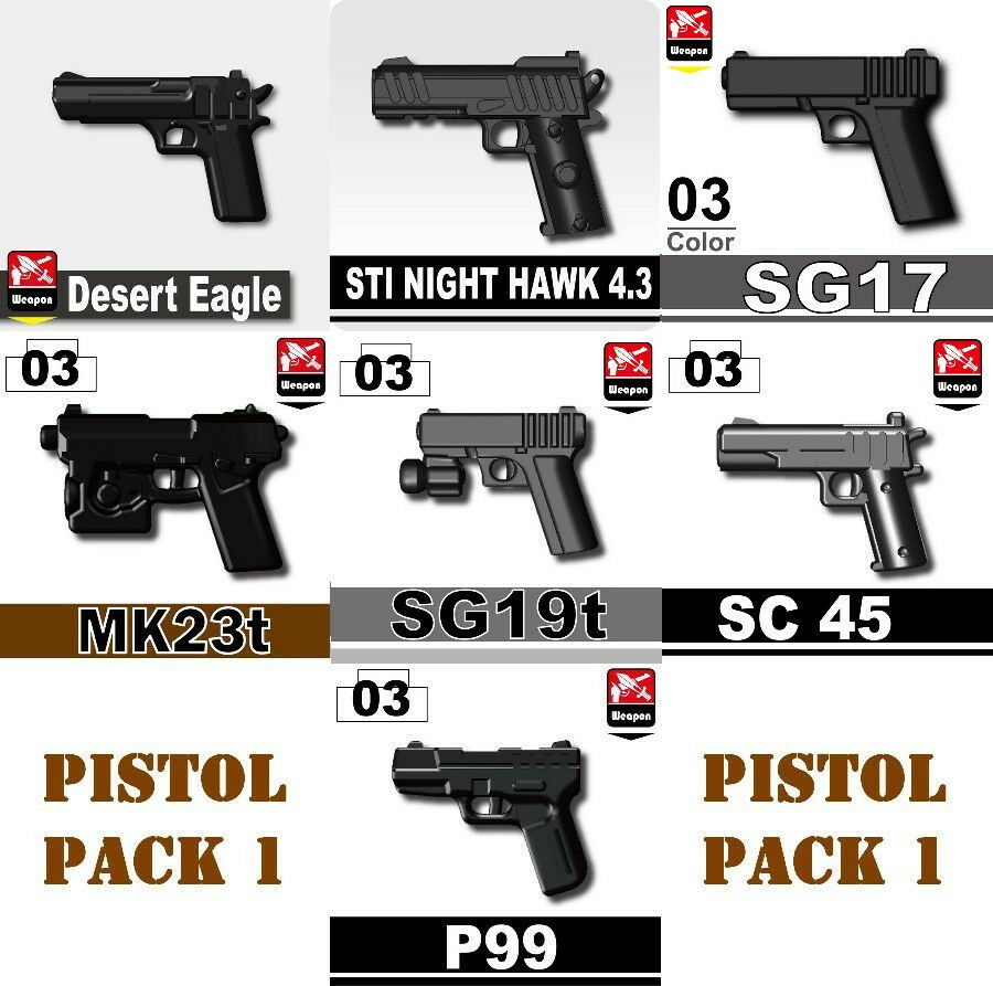 Custom Guns Army Weapons Pistol Pack Compatible with Toy Brick