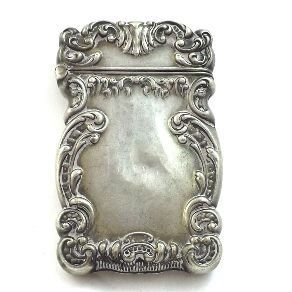 Antique victorian sterling silver repousse 39 match safe for The sterling