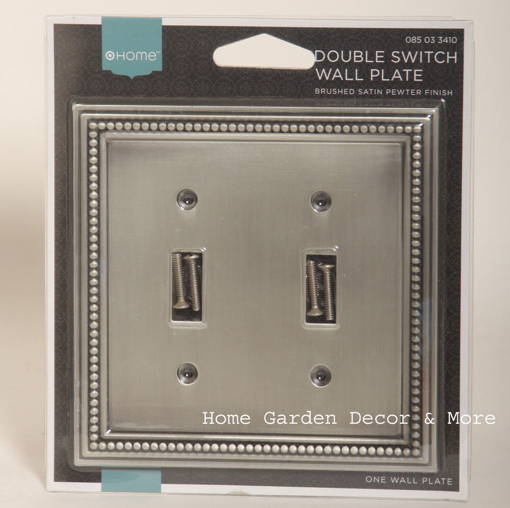 Brushed Satin Pewter Bead Double Light Switch Wallplate