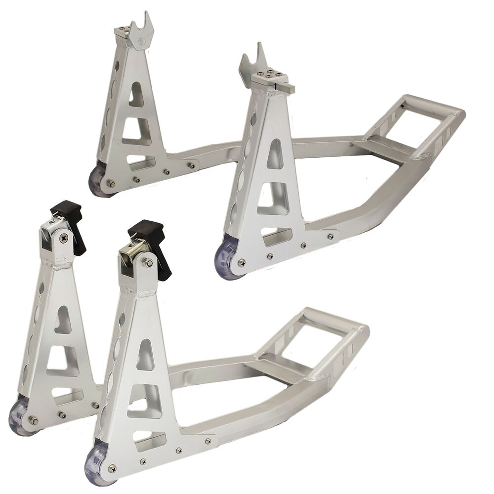 ryde motorcycle aluminium alloy front rear back paddock stands set kit bike ebay. Black Bedroom Furniture Sets. Home Design Ideas