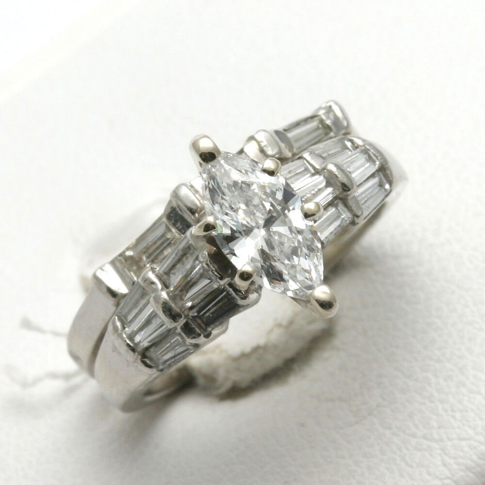 Estate Platinum Diamond Wedding Set 2 Carat Marquise Baguette Engagement Ring