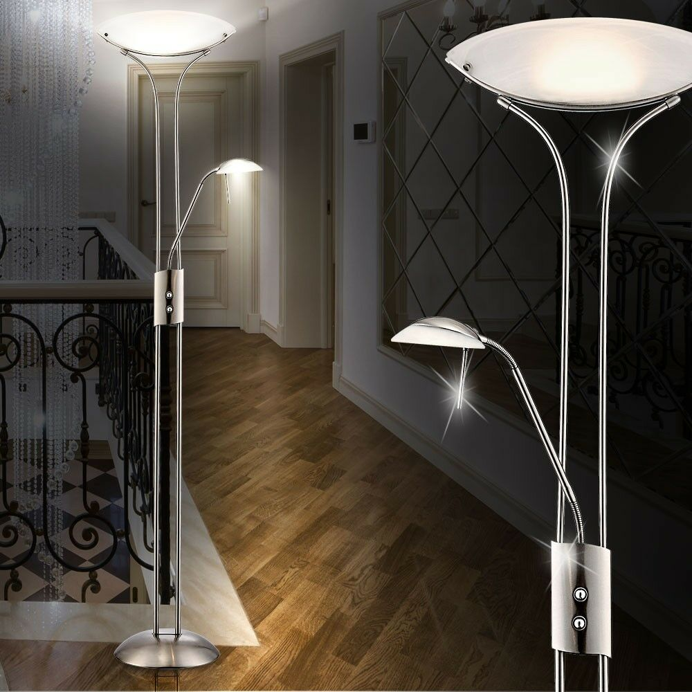 led 20 5 watt deckenfluter stehlampe flur stehleuchte leselampe wohnzimmer lampe ebay. Black Bedroom Furniture Sets. Home Design Ideas