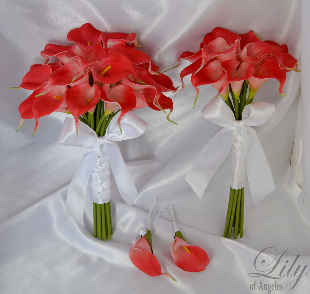 4 pieces wedding bridal bouquet real touch calla lily flowers coral care01 ebay. Black Bedroom Furniture Sets. Home Design Ideas