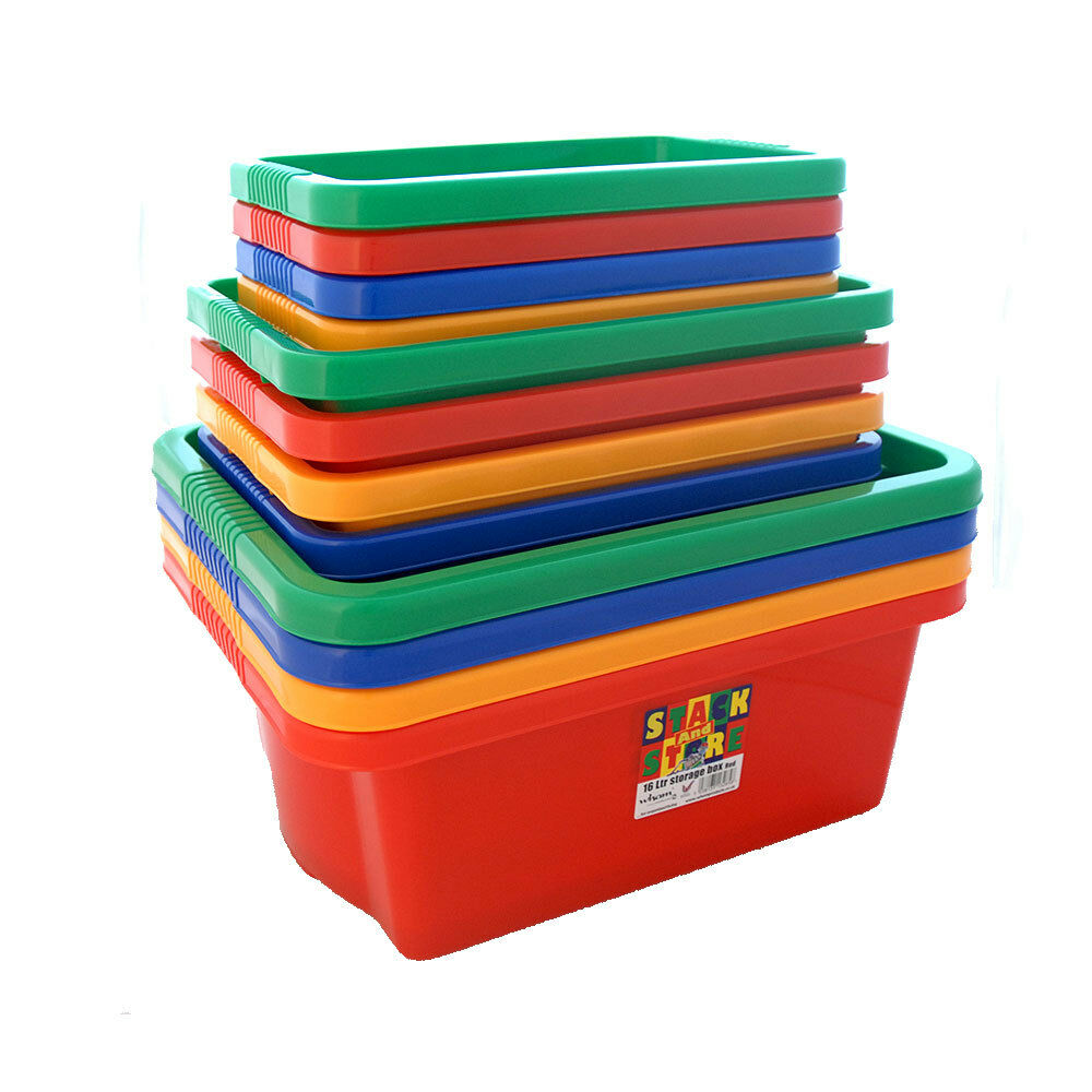 4 Pack Plastic Storage Boxes Tubs Stackable Bins