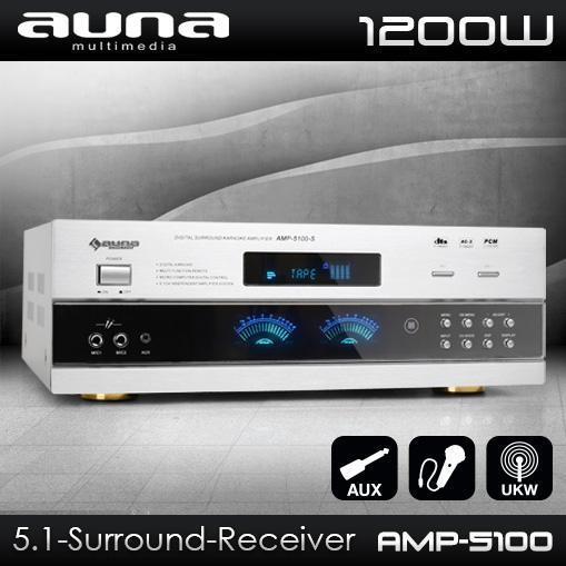 auna 5 1 surround hifi receiver vollverst rker dj pa karaoke amplifier amp 1200w 4260236110027. Black Bedroom Furniture Sets. Home Design Ideas