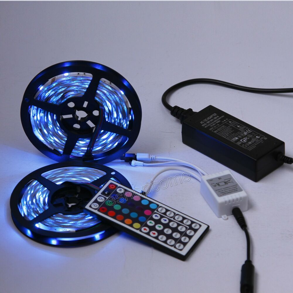 10m smd 5050 300 led rgb streifen leiste strip fernbedienung netzteil 2x5m ebay. Black Bedroom Furniture Sets. Home Design Ideas
