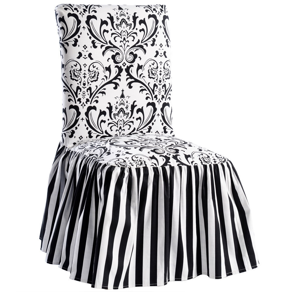 Black And White Dining Room Chairs: Black/White Damask And Stripe Dining Chair Cover (Set Of 2