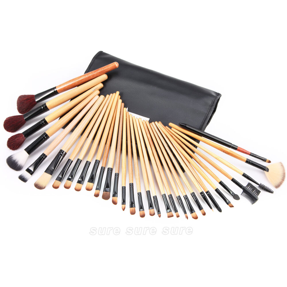 31tlg pinsel set make up echthaar brush set schminkpinsel mit kosmetik etui ebay. Black Bedroom Furniture Sets. Home Design Ideas