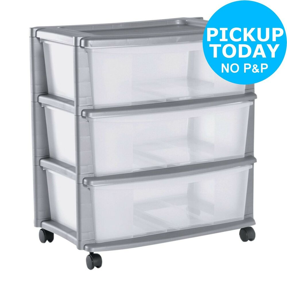 home 3 drawer plastic wide tower storage unit silver the official argos store ebay. Black Bedroom Furniture Sets. Home Design Ideas