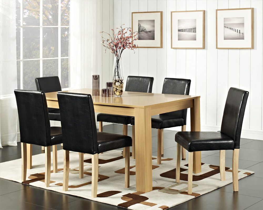Dining Table And 4 Or 6 Chairs With Faux Leather Oak Walnut Furniture Room Set Ebay