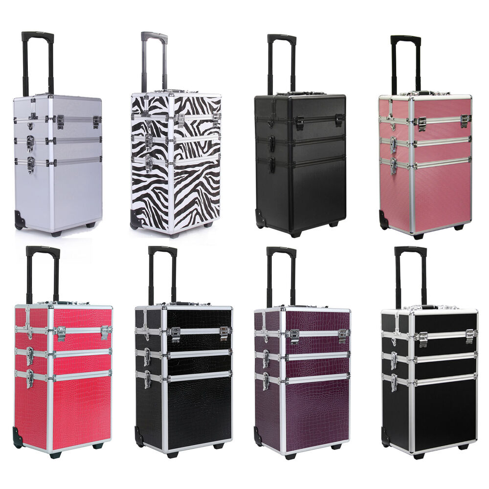 4 In 1 Rolling Makeup Case Cosmetic Train Cases Beauty Box