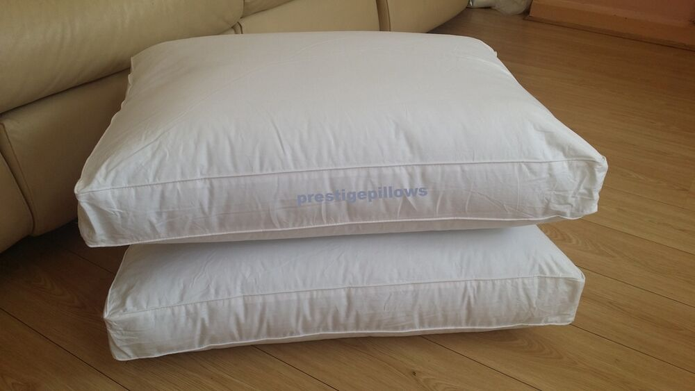 New Pair Of Luxury Box Square Bed Pillows Hotel Quality