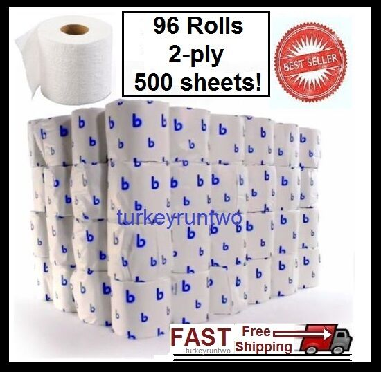 96 roll case toilet paper bath tissue 2 ply pack bathroom for How to use toilet paper rolls