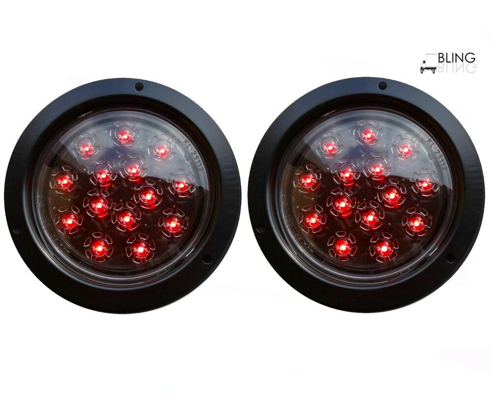 2 red round 5 flush mount stop turn led light truck trailer clear lens 14 diode ebay. Black Bedroom Furniture Sets. Home Design Ideas