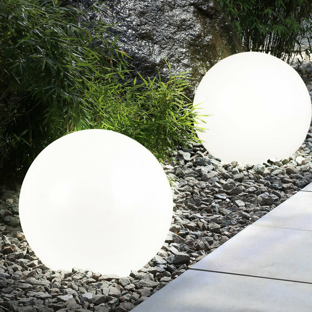 2 led solar garten kugel leuchte au en balkon deko lampe leuchtkugel nacht licht ebay. Black Bedroom Furniture Sets. Home Design Ideas