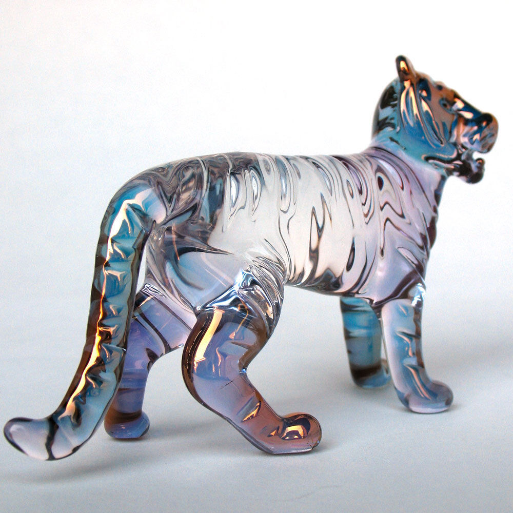 tiger figurine hand blown glass gold crystal sculpture ebay. Black Bedroom Furniture Sets. Home Design Ideas