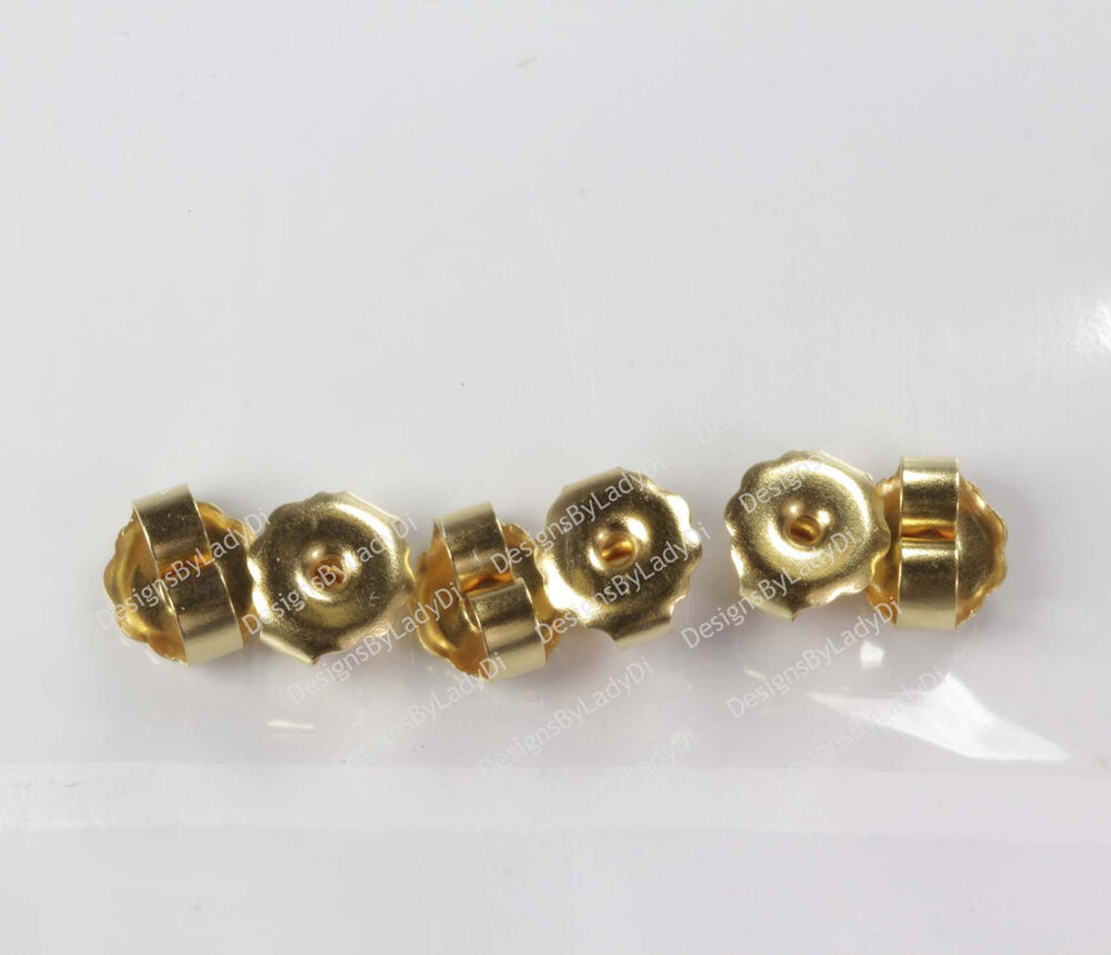 3 pairs of gold earring clutch backs for ear piercing or