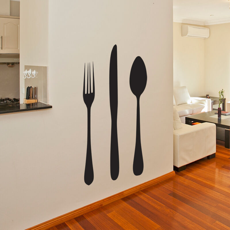 GIANT KNIFE AND FORK KITCHEN WALL ART STICKER DECAL ...