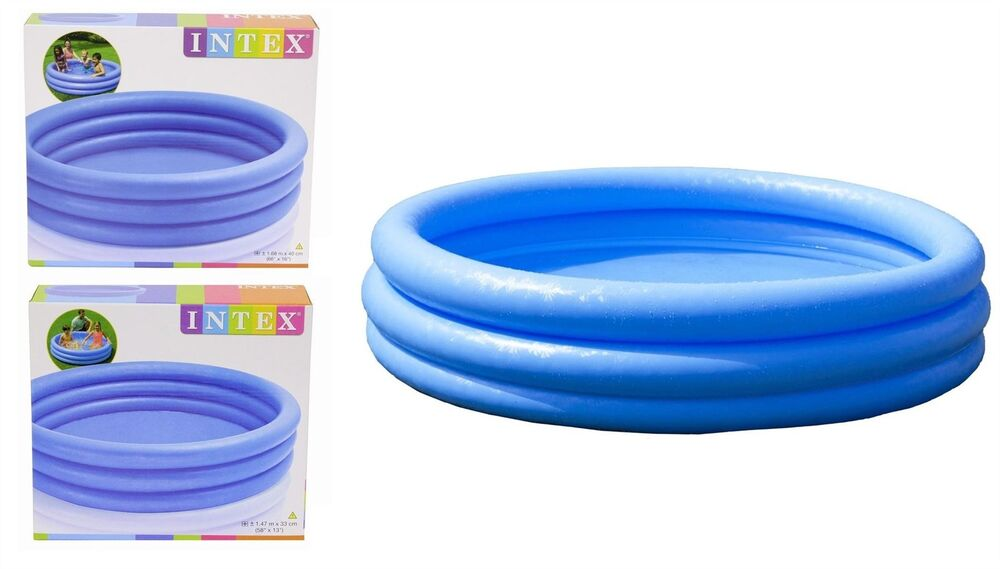 Intex Inflatable Crystal Blue 3 Ring Paddling Swimming Kids Pool Garden Play Ebay