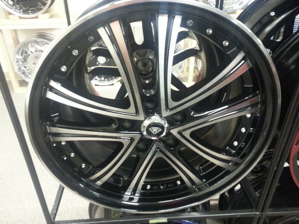18 inch white diamond edition wheels black machine 5 x 114 3 ebay. Black Bedroom Furniture Sets. Home Design Ideas
