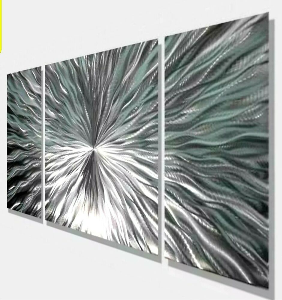 Contemporary Silvers: Modern Abstract Silver Metal Wall Art Home Decor
