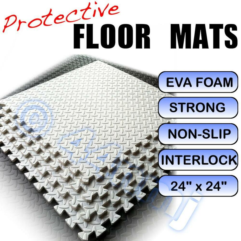 White garage workshop anti fatigue flooring mats tiles