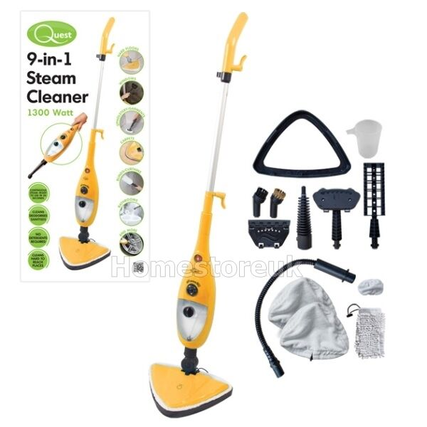 9 in 1 steam mop cleaner wood tile floor carpet bath. Black Bedroom Furniture Sets. Home Design Ideas