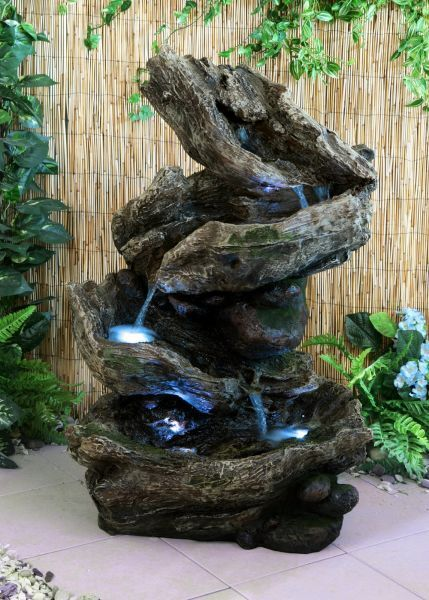 wooden log cascade water feature fountain natural country. Black Bedroom Furniture Sets. Home Design Ideas