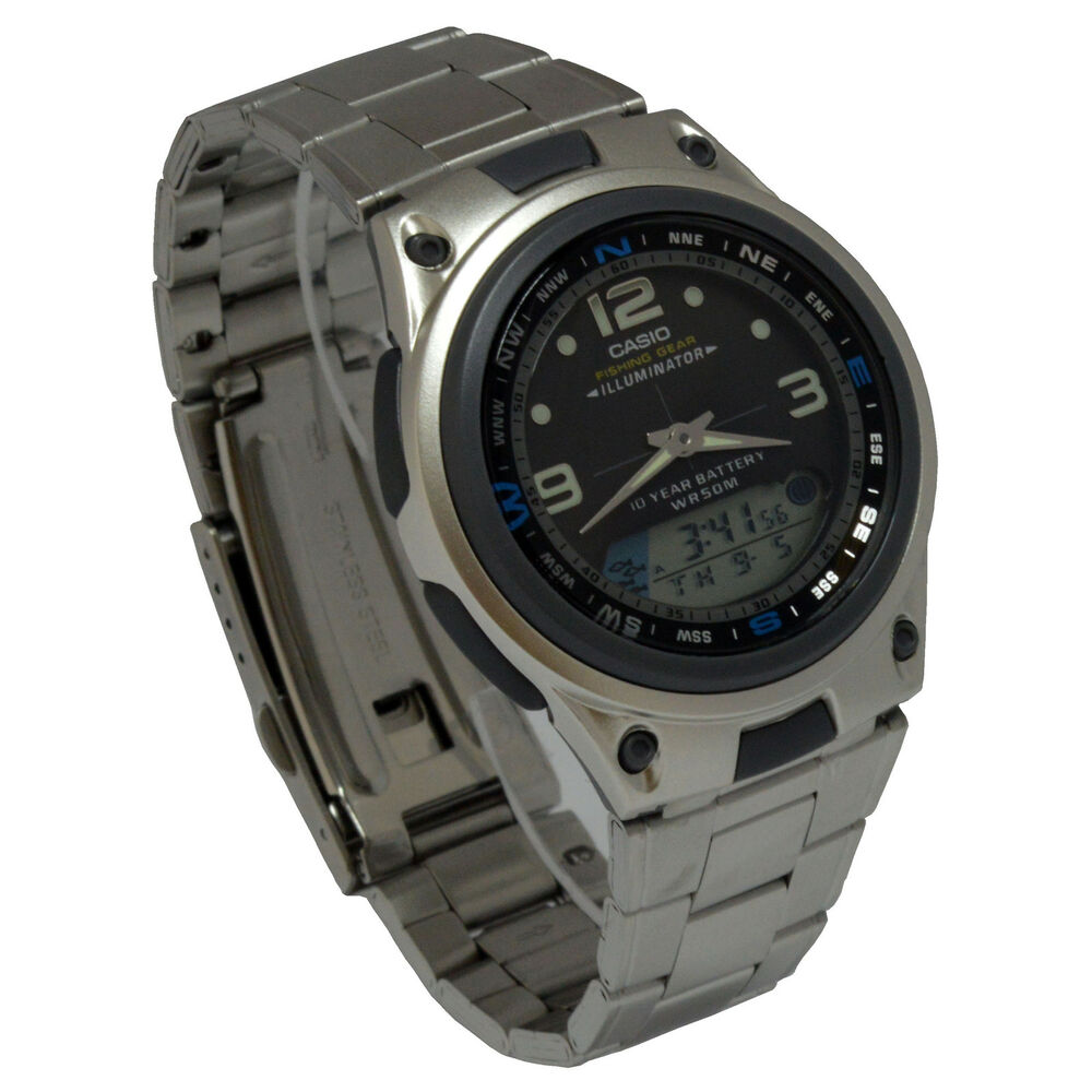 Casio aw82d 1av mens multi function stainless steel analog for Casio fishing watch
