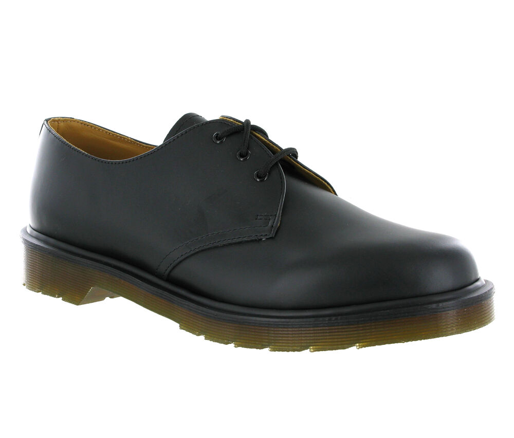 new mens dr martens 1461 pw 3 eye black smooth leather