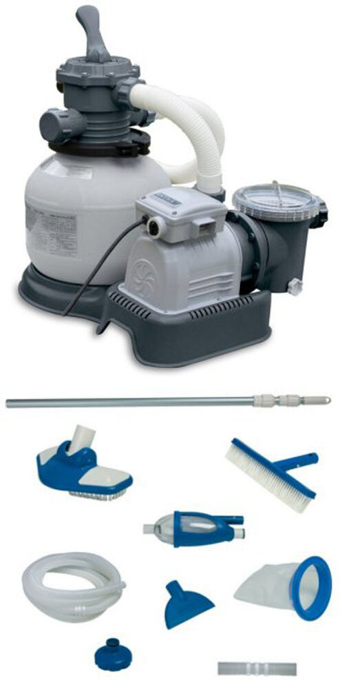 Intex 2100 Gph Krystal Clear Sand Filter Pool Pump W Deluxe Maintenance Kit Ebay