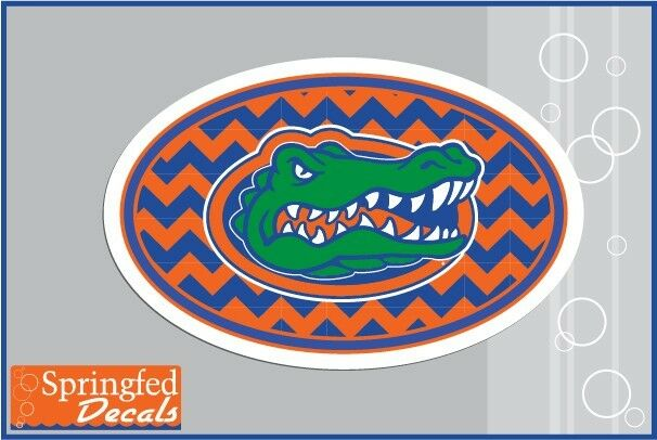 Florida Gator Stickers : Florida gators chevron gator head euro decal vinyl