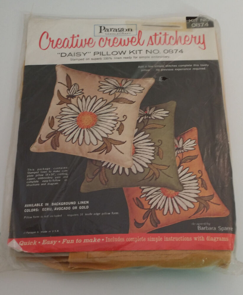 Vintage Paragon Daisy Pillow Kit 0874 Linen Embroidery