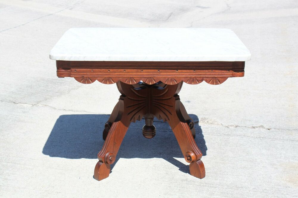 Fancy Walnut Victorian Scalloped Marble Top Coffee Table With Butterfly Base Ebay