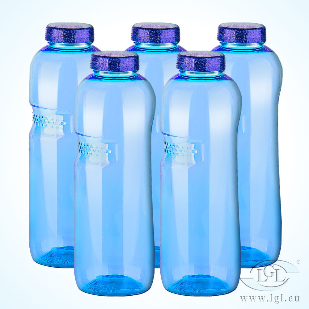 5 x 1 l tritan trinkflasche wasserflasche sport fitness wasser flasche ebay. Black Bedroom Furniture Sets. Home Design Ideas